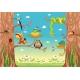 Funny animals on tree vector illustration, Funny cartoon vector illustration