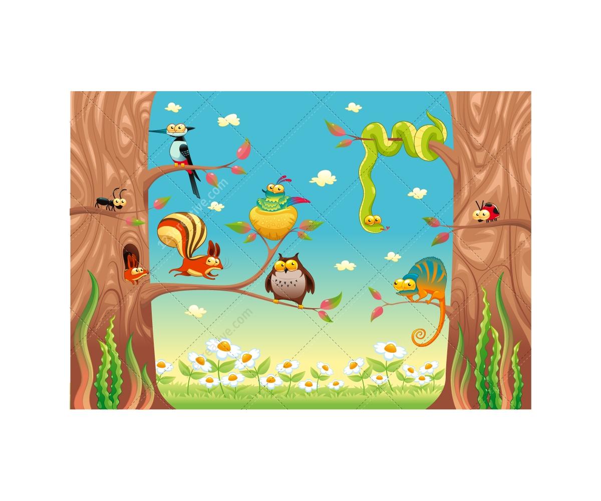 Funny animals on tree vector illustration - cute animal ...
