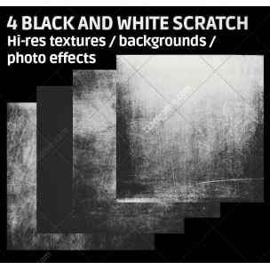 4 Black and white scratch texture backgrounds (digitized)