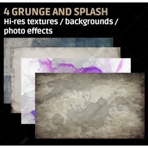 4 Grunge and splash textures high resolution (digitized)