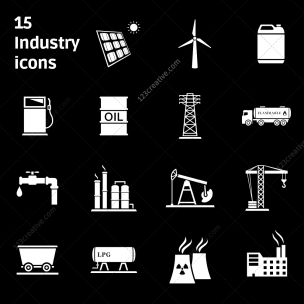 15 Industry icons (black and white)