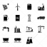 Icons for various industry fields, coal mining icon, energy industry icon, oil production icon, water management icon