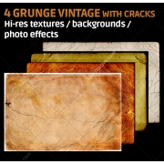 4 Grunge vintage textures with cracks (digitized)