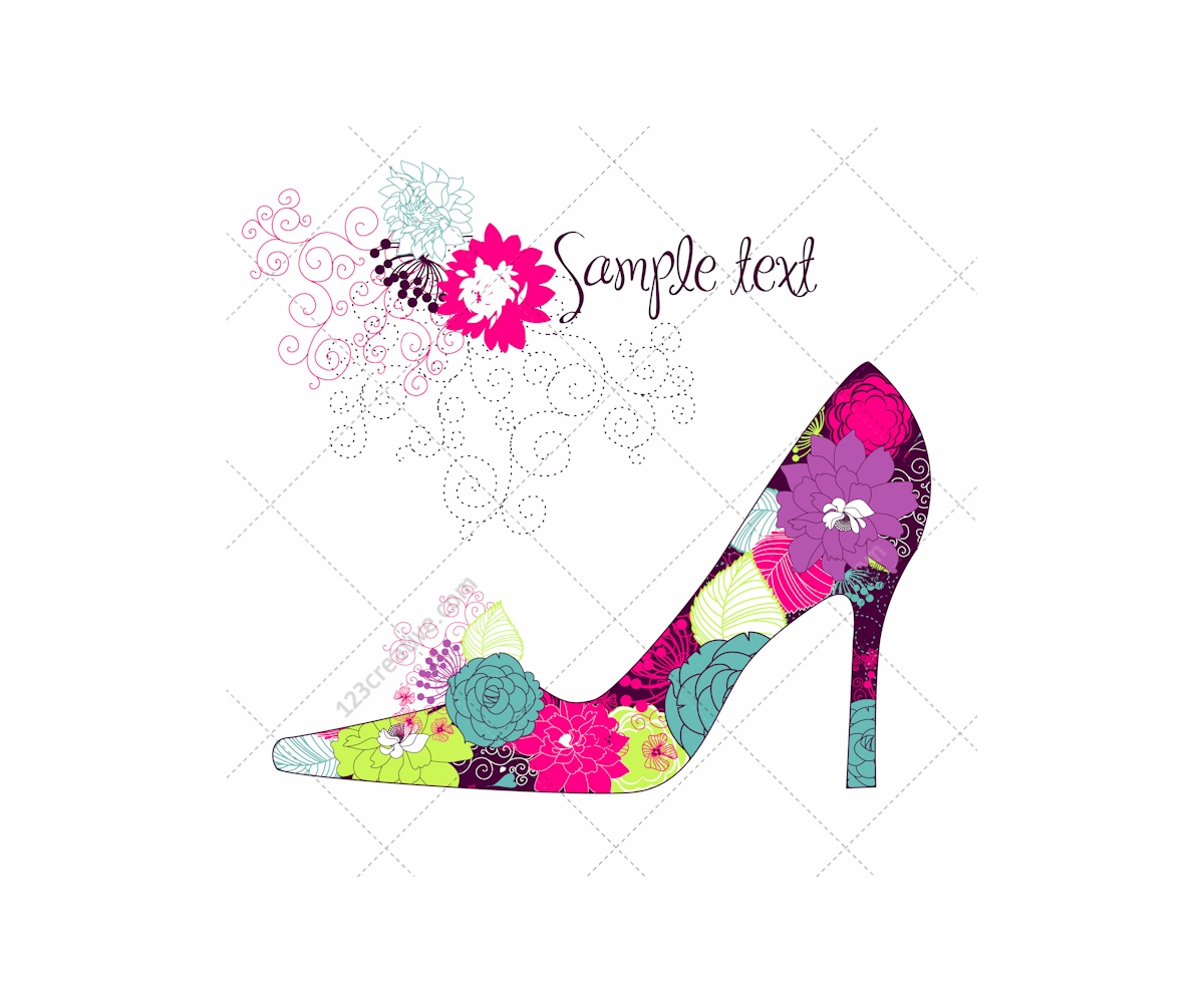 Beautiful High Heel Shoe Vector With Floral Pattern High