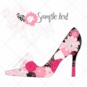Beautiful high heel shoe vector with floral pattern
