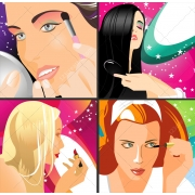 Girl doing make up vector illustrations, woman doing make up vectors