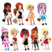 vector ladies in different outfits, lady in costume, vector ladies in clothes