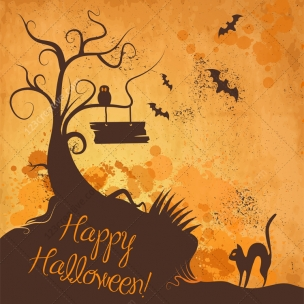 11 Halloween vector illustrations and cobweb vectors