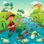 Fishing vector illustration with fisherman and fishes