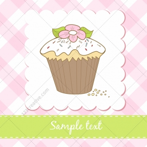 4 Sweet muffin vectors on Birthday cards