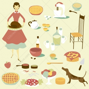 Retro Housewife in kitchen vector graphic elements and patterns