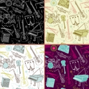 seamless music vector patterns, musical instruments vector patterns