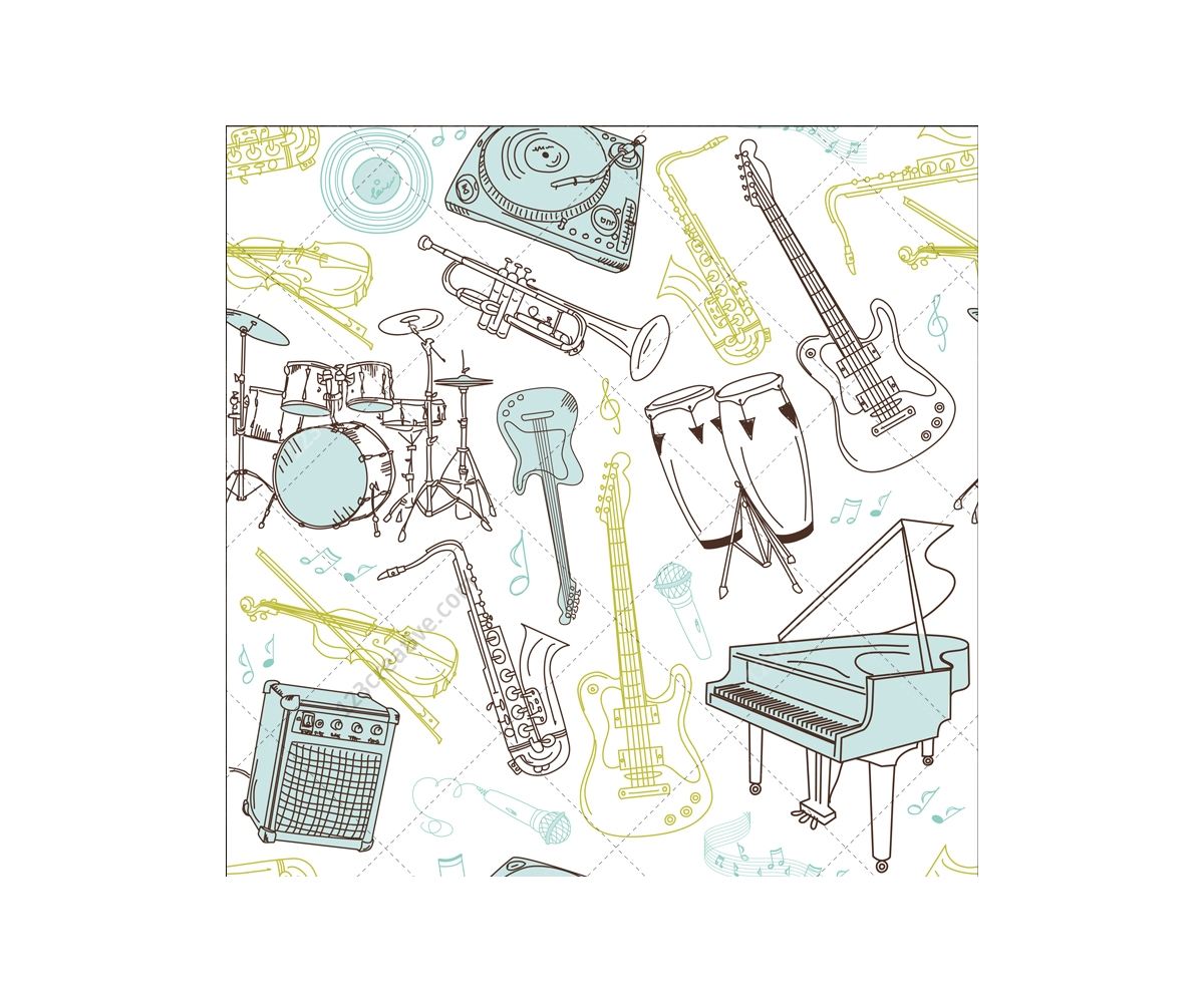 Music: Seamless Music Vector Patterns With Musical Instruments