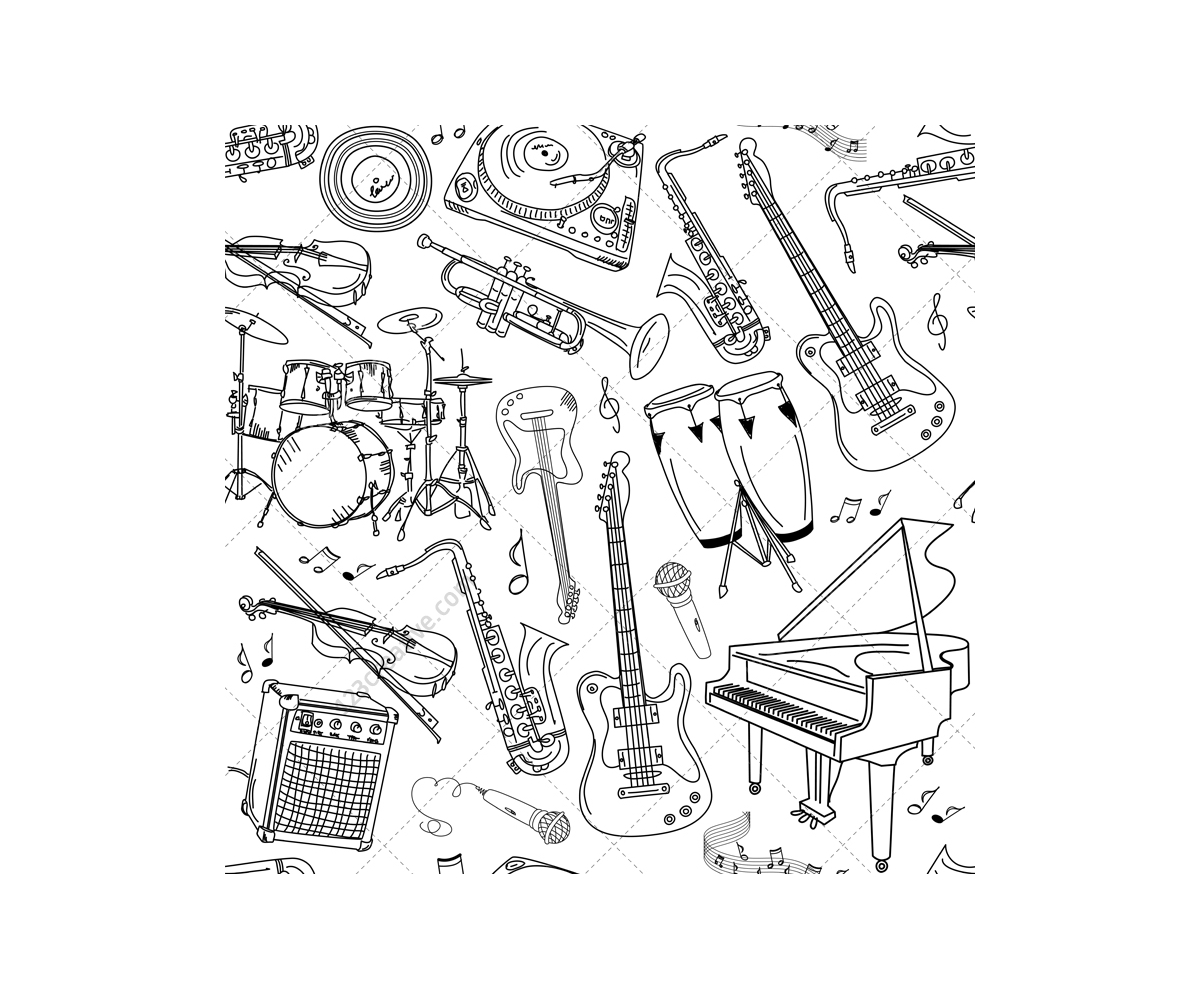 seamless music vector patterns with musical instruments