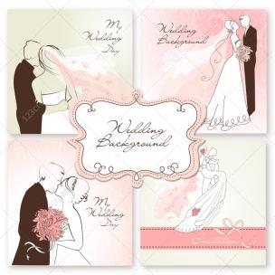5 Wedding card vectors with wedding couple