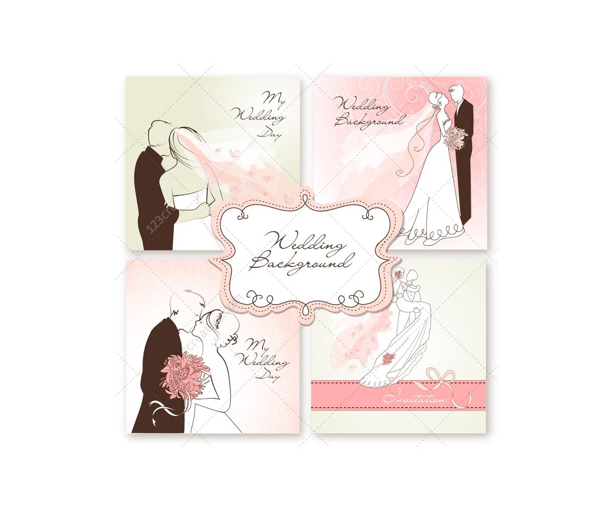 wedding card vectors with wedding couple  wedding card