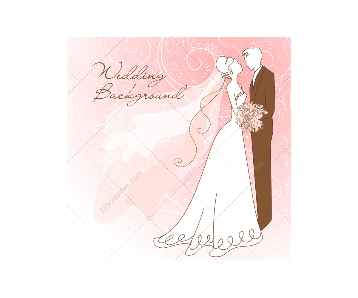Wedding card vectors with wedding couple - wedding card ...