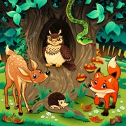 cartoon forest vector illustration, cartoon illustration for childrens, cute cartoon illustration