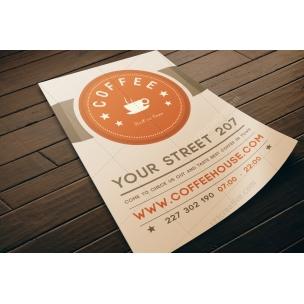 Coffee flyer template PSD (light design)