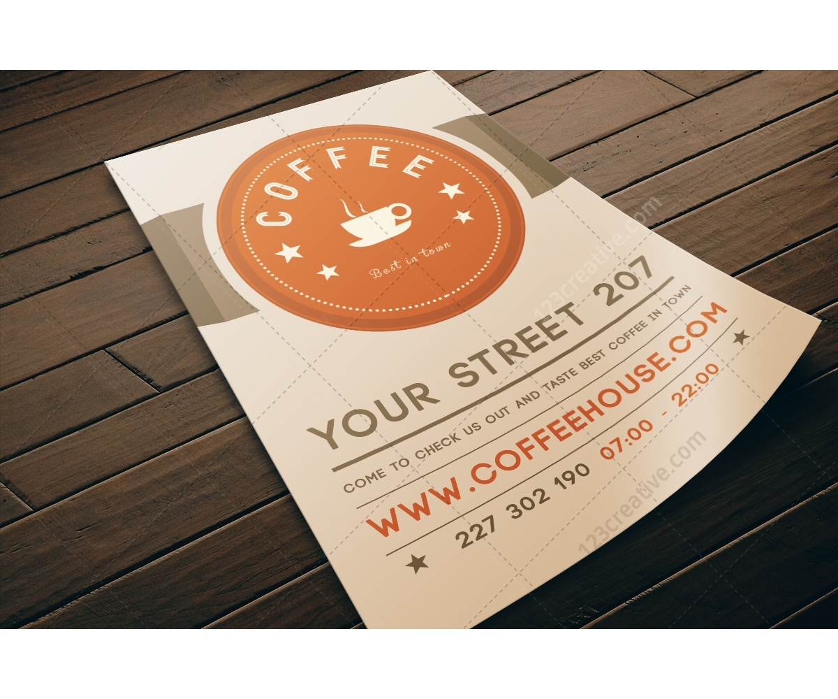 Coffee Flyer Template PSD Modern Light Design Restaurant Flyer - Bakery brochure template free