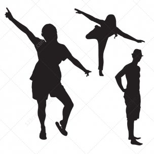 Young people vector silhouettes