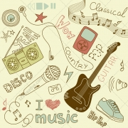I love music vector doodles, music vector graphics