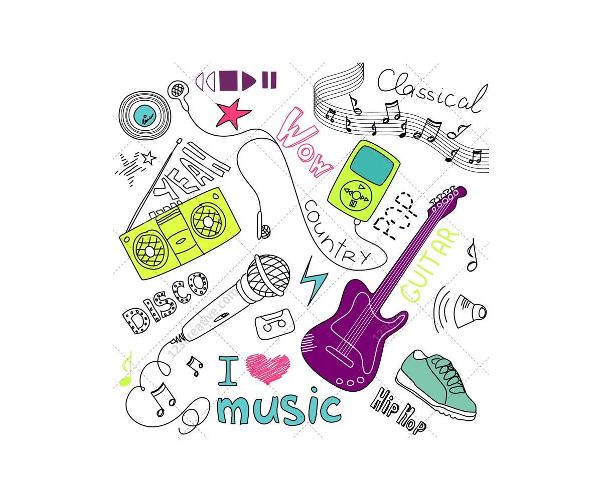 I Love Music Vector Doodles Sketch Music Vectors