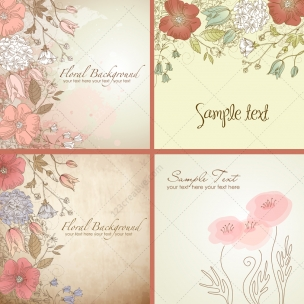 Vintage wild flowers vector pack - floral backgrounds