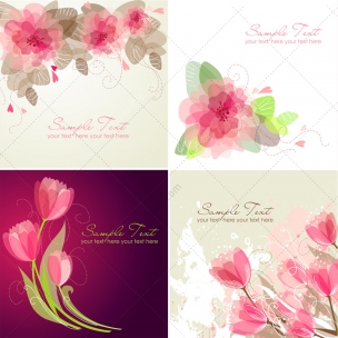 Vector Greeting cards with flowers