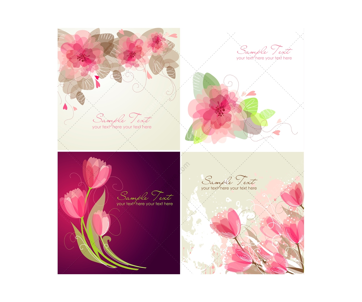 Vector Greeting Cards With Flowers Floral Card Templates Tulip