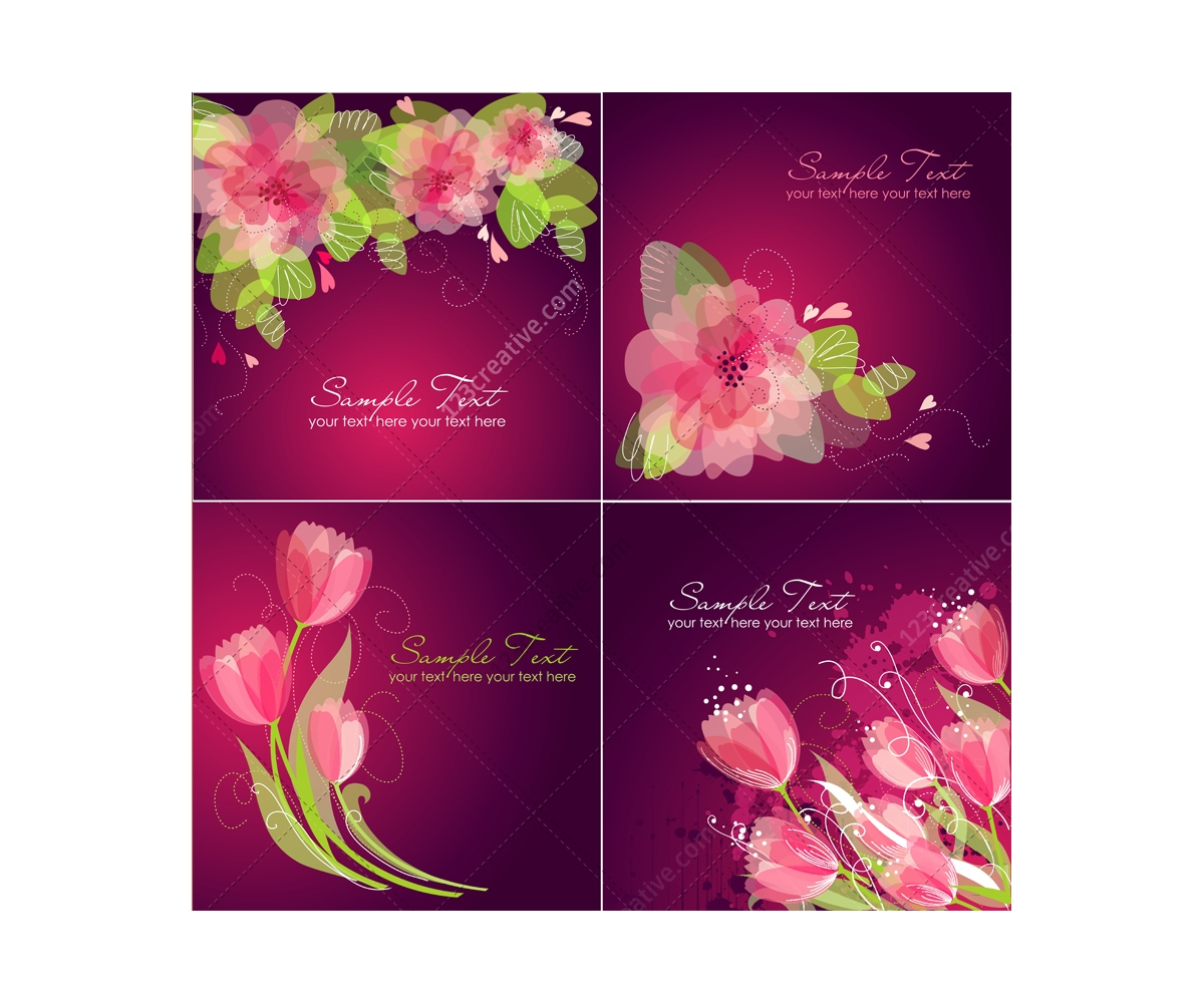 vector greeting cards with flowers  floral card templates