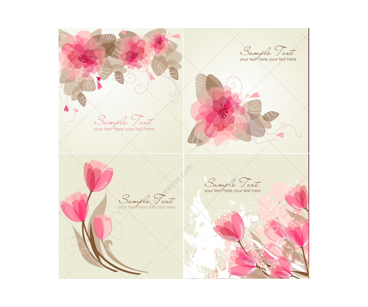 Vector Greeting cards with flowers - floral card templates ... Classical Music Background Designs
