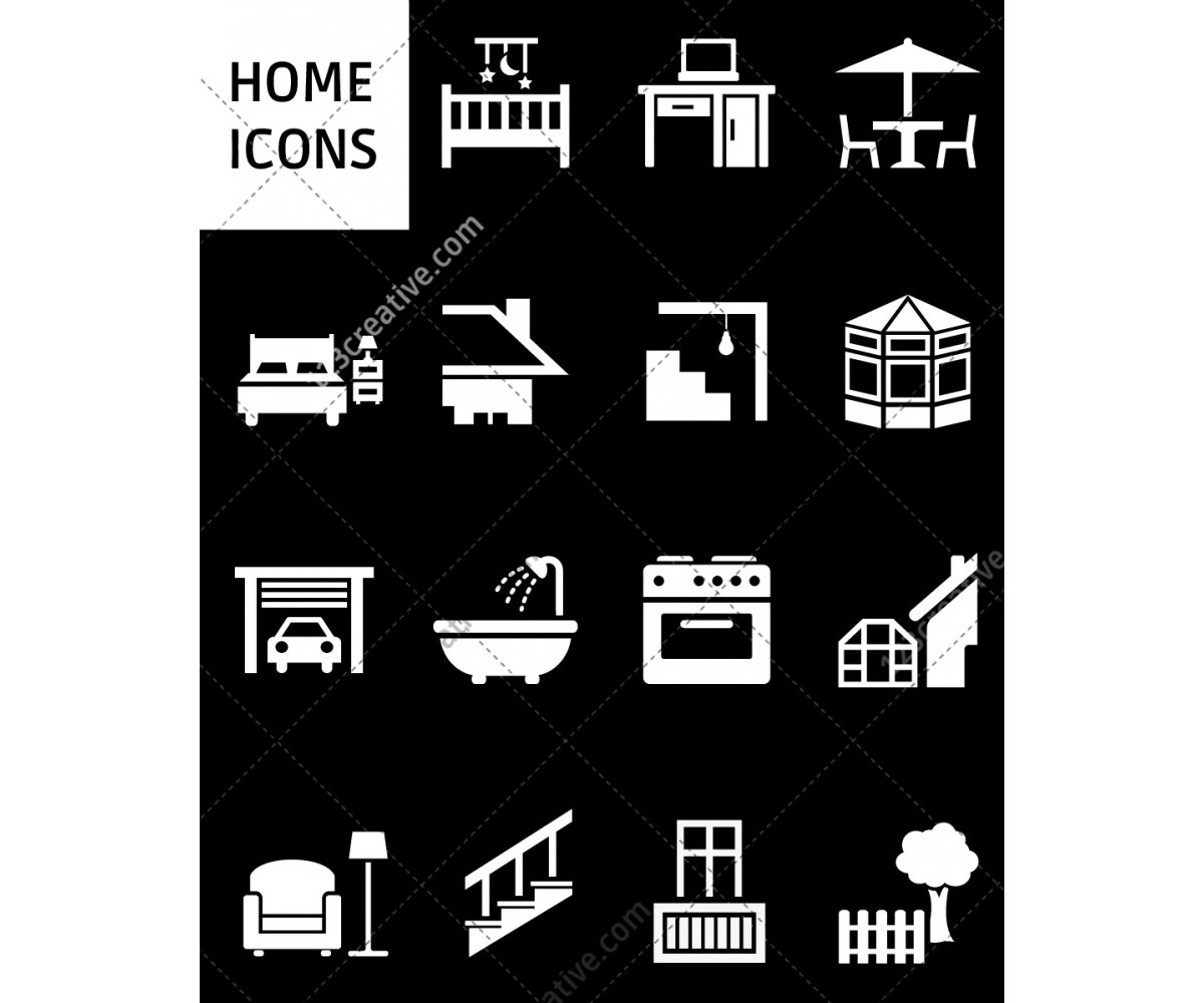 Home icon set - home icon signs, house, living, home ...