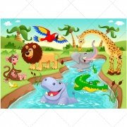 funny zoo vector illustration, cartoon vector image