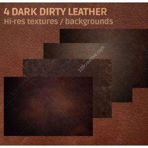 4 Dark dirty brown leather texture backgrounds (digitized)