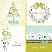 Christmas vector card illustrations - Green collection