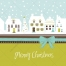 4 Christmas vector card illustrations - Green collection