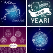 New Year and Christmas vector greeting cards
