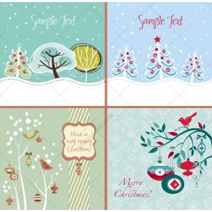 4 Winter and Christmas vector greeting cards