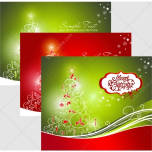 3 Vector Greeting cards with Christmas tree