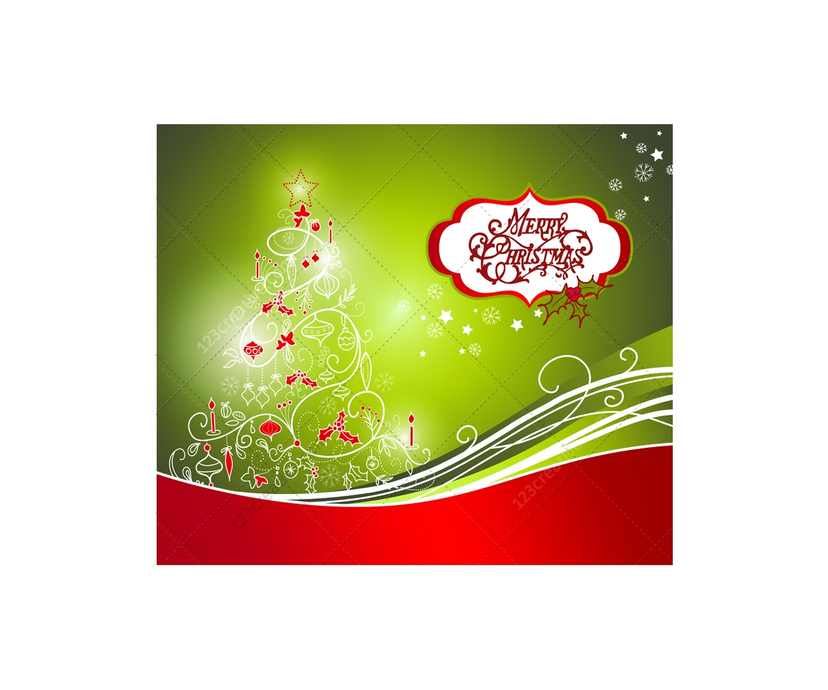 Greeting cards with Christmas tree - vector graphics, prearranged ...