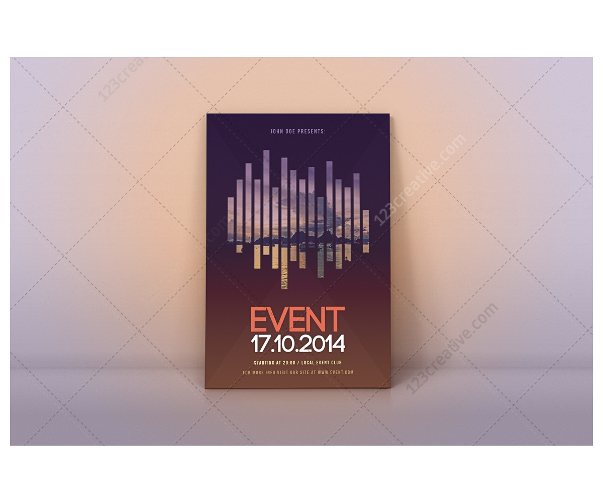 modern event flyer template psd for exhibition curtural. Black Bedroom Furniture Sets. Home Design Ideas