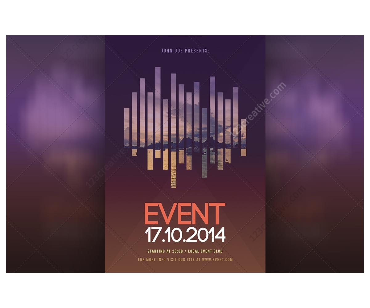 Modern Event flyer template PSD for exhibition, curtural event ...
