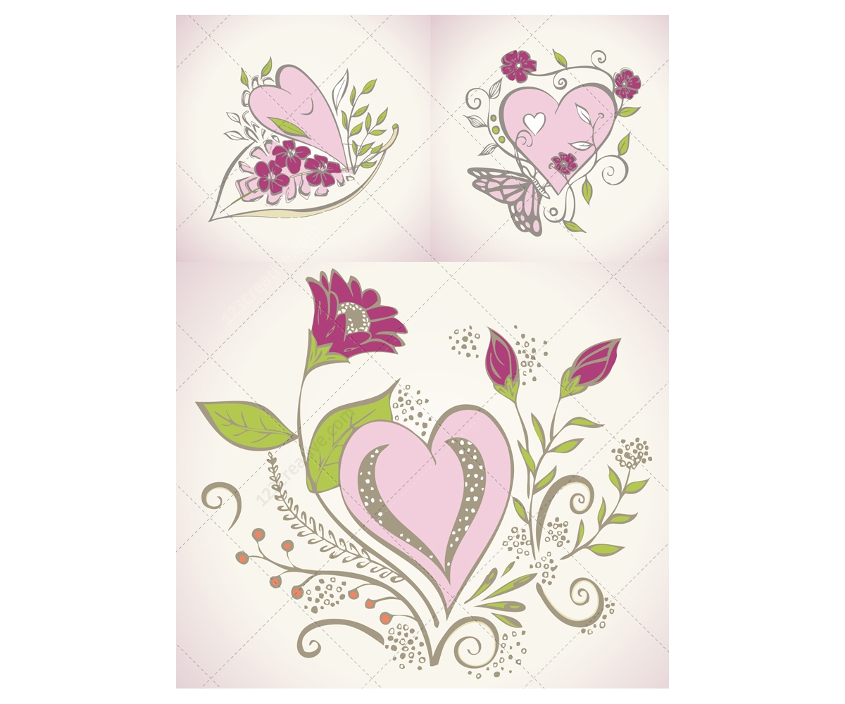 Beautiful Valentine heart vectors for greeting cards floral – Beautiful Valentine Cards