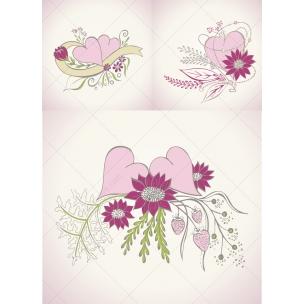 Wedding vector art - Beautiful floral hearts