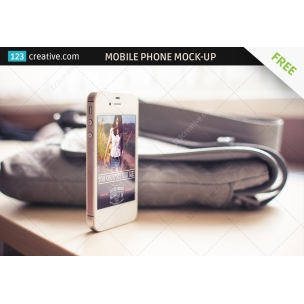 FREE Mobile phone mockup with women's bag in the background