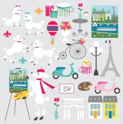Poodle vector art - France vectors, Paris vectors, Eiffel Tower vector, old bicycle vector