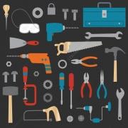workshop tools vector, repairman vector graphics, hammer vector, screwdriver, handsaw, goggles
