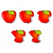 Apple vector and bitten apple vectors, fruit vector, cartoon apple, red apple vector