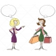 shopping ladies vectors, ladies with speech bubble vector, winter shopping ladies